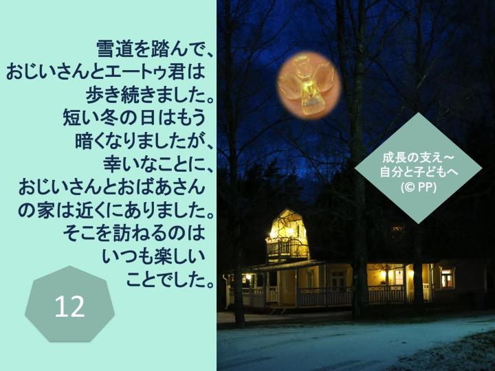 12. 雪道を踏んで、おじいさんとエートゥ君は歩き続きました。短い冬の日はもう暗くなりましたが、幸いなことに、おじいさんとおばあさんの家は近くにありました。そこを訪ねるのはいつも楽しいことでした。